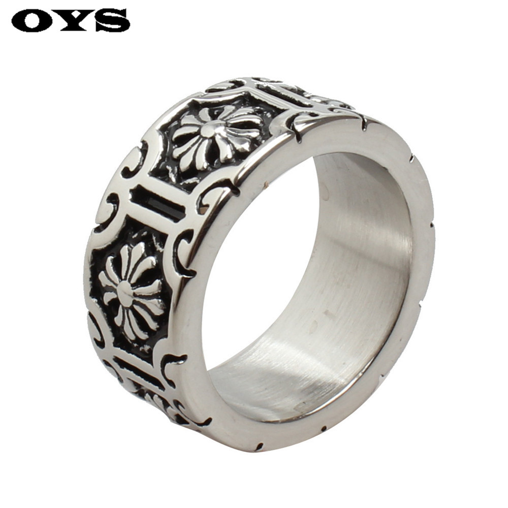 Wholesale Vintage Retro Cross Flower Ring Titanium Stainless Steel Cool Simple Men Ring Male Fashion Jewelry