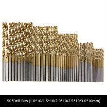 цены 50Pcs Titanium Coated Drill Bits HSS High Speed Steel Cobalt Drill Bits Set Shank Tool High Quality Power Tools Hole Cutter Tool