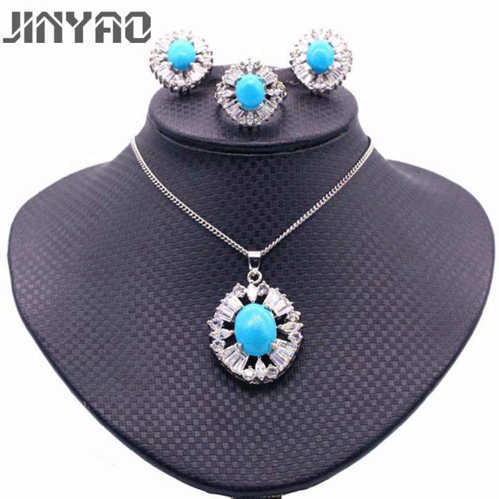 JINYAO Fashion Round Blue Stone AAA Zircon Gold Color Pendant Necklace Earrings Ring Set For Women Wedding Party indian Jewelry