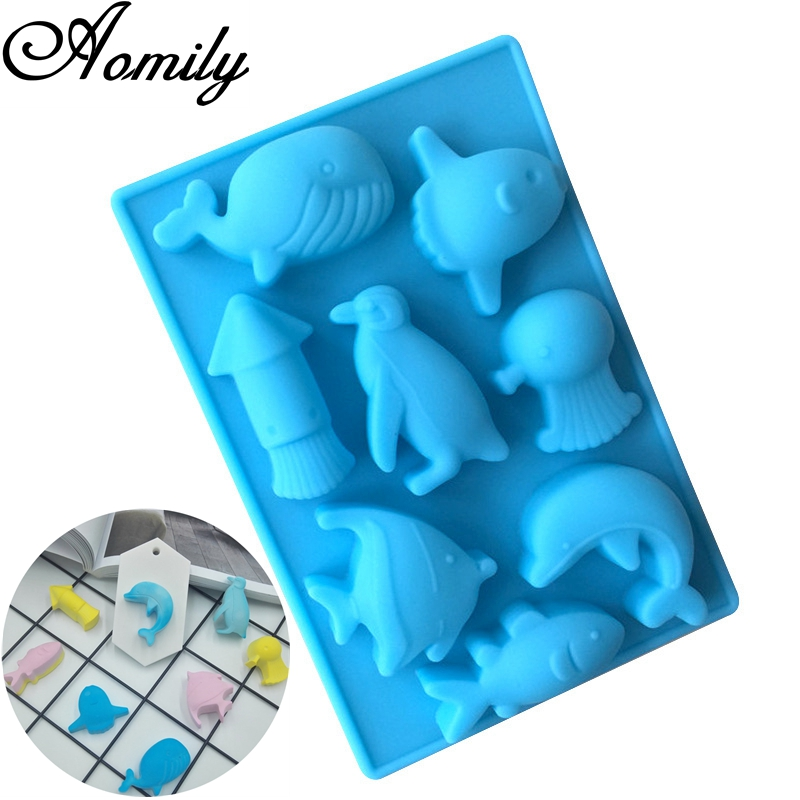 Aomily 3D Marine Animal Shaped Silicone Chocolate Soap Candy Fondant Sea World Mould Silicone Chocolate Cookies Cake DIY Mold
