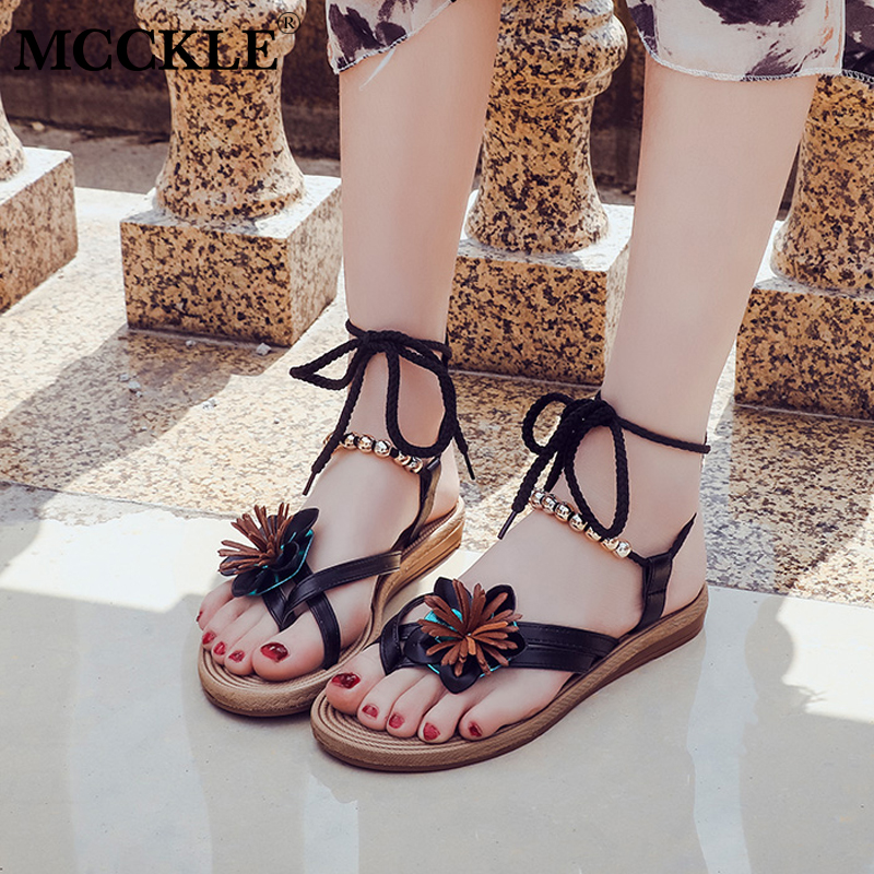 MCCKLE Women Summer Bohemia Flat Sandals Female Ankle Strap Flip Flops String Bead Floral Shoes Ladies Solid Casual Outside 2017 women sandals new fashion bohemia style ankle strap flip flops summer flat shoes woman ladies shoes sandalias mujer d35m4