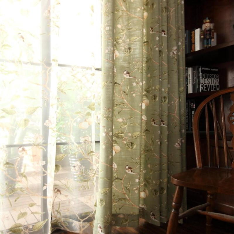 Huayin Velvet Linen Curtains Tulle Window Curtain For: Pastoral Cotton Linen Fabric Blackout Curtains For Living