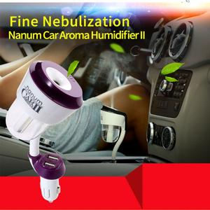 12 V Car Humidifier Air Purifier 2 USB Charger Aroma Oil Aromatherapy Mist Maker