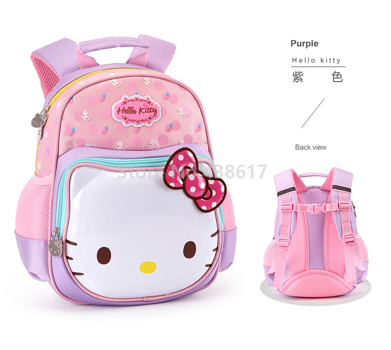 5d901302b455 Cute Sweet Pink Purple Rose Hello Kitty Backpack School Bags for ...