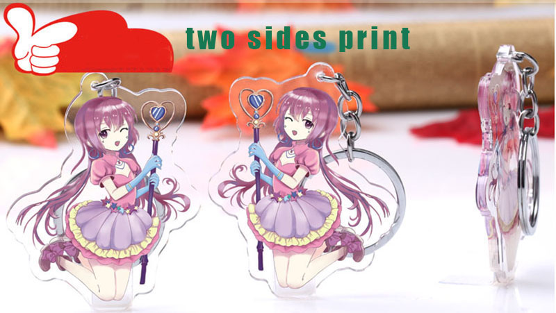 US $11 0 |1PC Customized 7cm Clear Acrylic Popular Anime Charm Stand  Keychain With Any Character-in Badge Holder & Accessories from Office &  School
