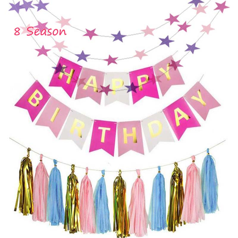 8 Season Happy Birthday Banner Baby Shower Party Bunting Summer DIY Craft Wedding Decoration