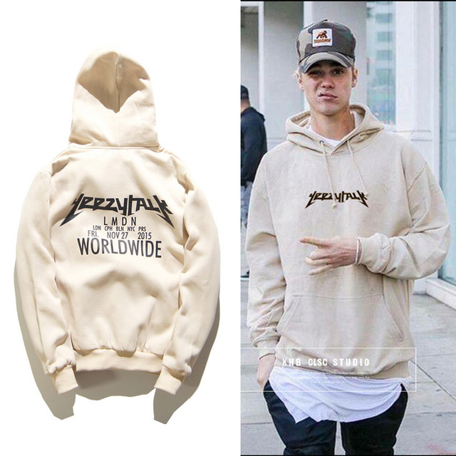 2016 Winter Justin Bieber 1:1 Yeezy Purpose Tour Worldwide Hoodie Cotton Add Wool Tracksuit Homme Men Women Yeezys Sweatshirts