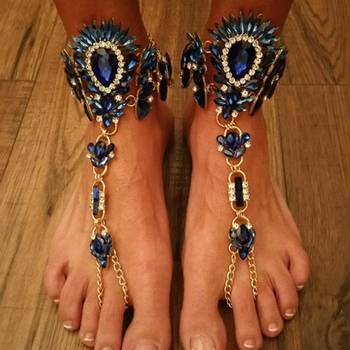 Dvacaman Brand 2016 New Gold Plated Maxi Anklet Bracelet Crystal Anklet Barefoot Sandal Beach Jewelry Boho Leg Chain Female P60