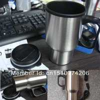 1pcs Free Shipping Stainless Steel 12V Car Cup Heater Tea Coffee Water Auto Electric Heater Mug