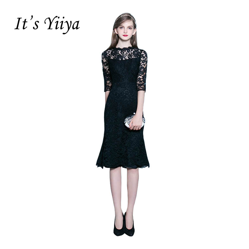 It's YiiYa New Black Backless Half Sleeves Elegant Lace Zipper Dinner Tea-Length   Cocktail     Dresses   Formal   Dress   Party Gown LX033