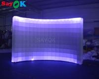 Sayok Портативный надувные фоне Photo Booth стене с 2 светодиодный свет в верхней и нижней для Свадебная вечеринка украшения