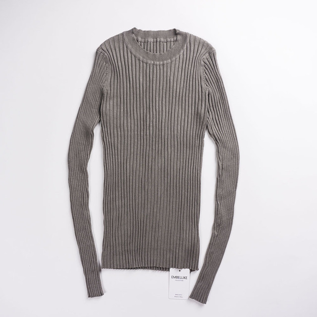 Women  Basic Knitted Tops Solid Crew Neck Essential Jumper Long Sleeve
