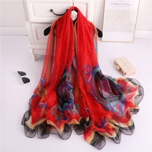 LARRIVED Luxury Scarf Women Long Silk Printed Fashion Shawl Female Plus Size 190*135cm For Winter Autumn
