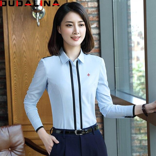 35961922f91 Dudalina 2017 Primavera New Arrival Moda Feminina Blusas Camisas Azul  Branco Manga Comprida Casual Shirt Mulheres