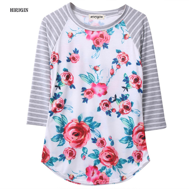 83f6a6de HIRIGIN 2017 Fashion Women Autumn 3/4 Sleeve Tops T shirt Loose Casual Floral  Striped Tee Tops Clothes Ladies Loose T-shirt