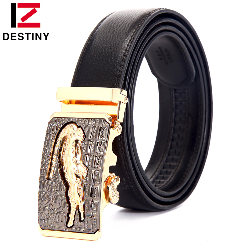 DESTINY Designer Belts Men Luxury Brand Crocodile Male Genuine Leather Strap High Quality Ceinture Homme Fashion Cinto Masculino