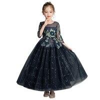 Elegant Flower Girls Long Dress New Brand Kids Lace Half Sleeve Flower Applique Tulle Party Wedding Dress Formal Girls Clothing