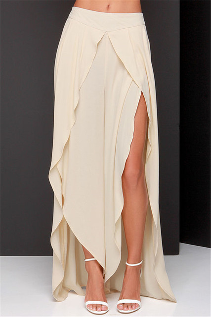 ffffce35d4b2d 2015 European Style Bohemian Side Slit Ladies Plus Size Palazzo Pants Sheer  Low Waist Easy Wide Leg Women Bottom Summer Trousers