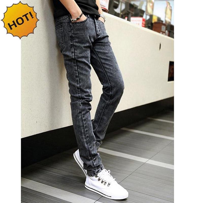 Hot Style Snow Grey Straight Slim Fit Denim Jeans Men Hip Hop Boy Streetwear Harem Pants Teenagers Casual Leg Stretch Trousers