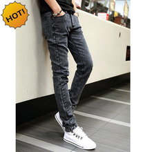Hot Style Snow Grey Straight Slim Fit Denim Jeans Men Hip Hop Boy Streetwear Harem Pants Teenagers Casual Leg Stretch Trousers