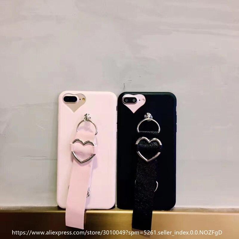 Luxury TPU <font><b>Phone</b></font> <font><b>Cases</b></font> For iphone 7 Plus Love Heart Leather <font><b>Bracelet</b></font> Back Cover For iphone 7 Plus <font><b>Phone</b></font> <font><b>Cases</b></font> Coque Fundas