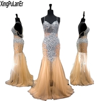 XingPuLanEr Long Prom Dresses 2018 Gorgeous Mermaid Sweetheart Beaded Crystals Floor Length Champagne Prom Dress Party Gowns