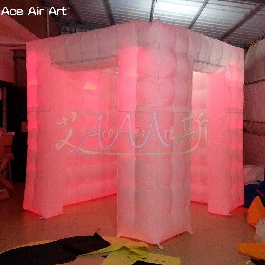 Accessoires gonflables de cabine de photo de conception de taille de porte scientifique, tente menée de cube d'éclairage avec le rideau attaché et les portes de taille différente - 6