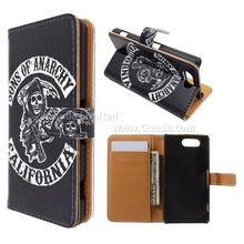 For Sony Z3 Mini Phone Cover Skull Leather Wallet Case for Sony Xperia for Z3 Compact D5803 M55w FREE SHIPPING
