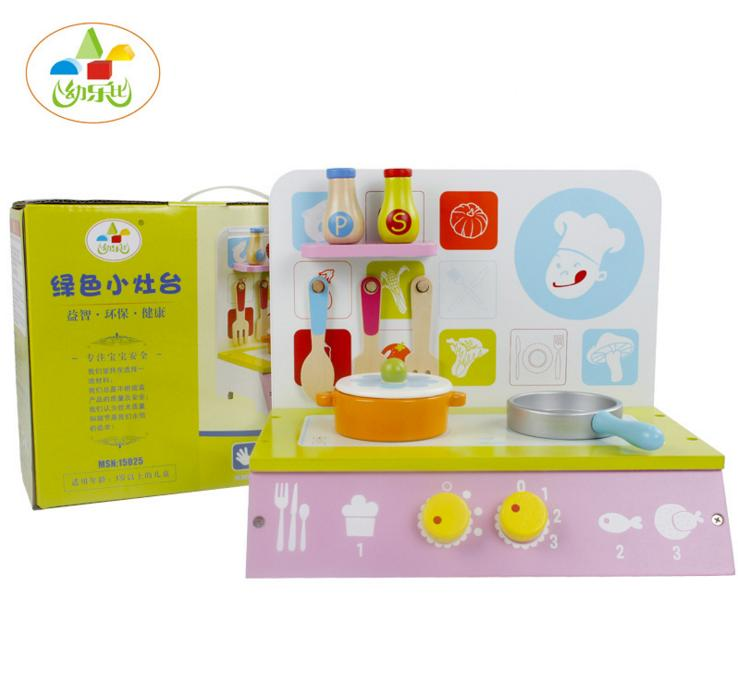 Brand kid's wooden kitchen toys with cooking bench and pot / Children pretend play game kitchen toys set for classic childhood