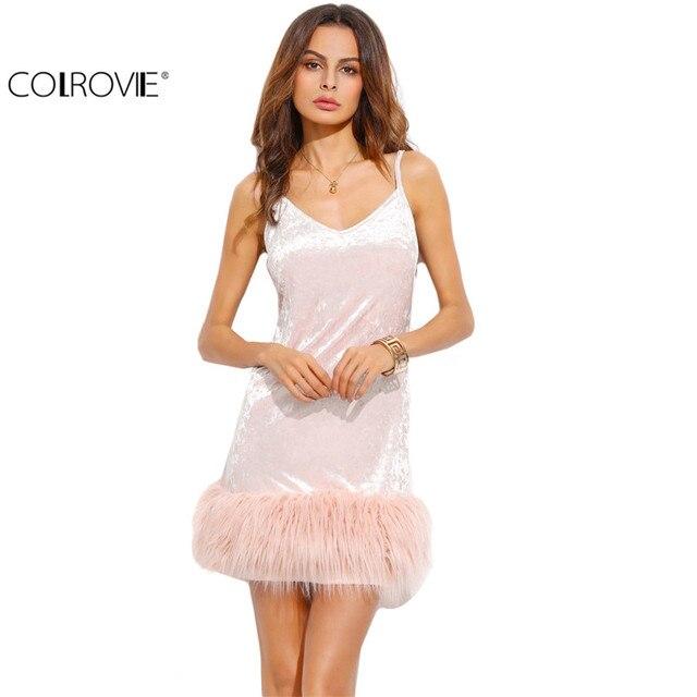 1c455e2bf486 COLROVIE Woman Party Dresses Elegant Evening Fashion Dress for Women  Clothing Pink Velvet Faux Fur Trim