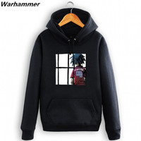 GORILLAZ Mens Cotton Hoodies The Greatest Rock Band Boys HipHop Hooded Plus Pullover Jackets Fleece Cotton
