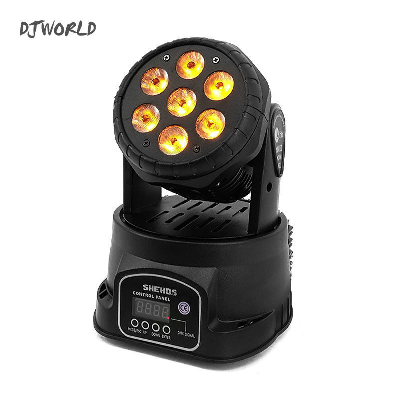 Djworld High Quality LED Mini Moving Head Wash Light 7X12W RGBW 4in1 Moving Heads DMX Stage Light DJ Nightclub Party Concert