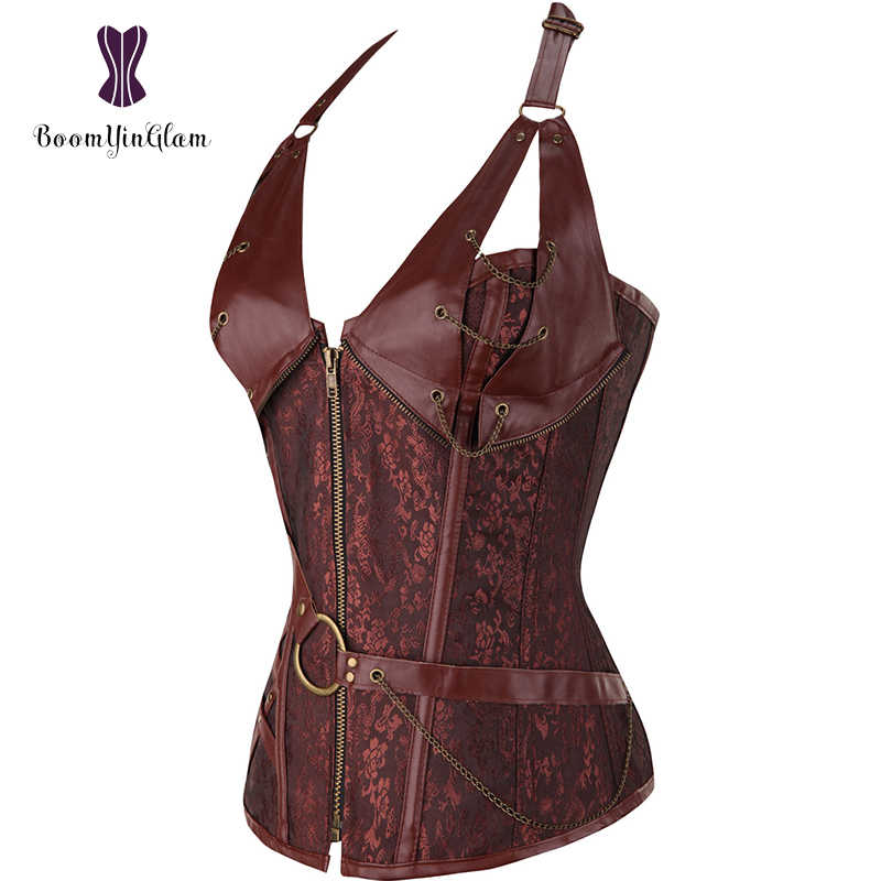 5719817a690 ... Plus Size Zip Up Sexy Shaper Spiral Steel Boned Steampunk Goth Halter Leather  Bustier Corset S ...