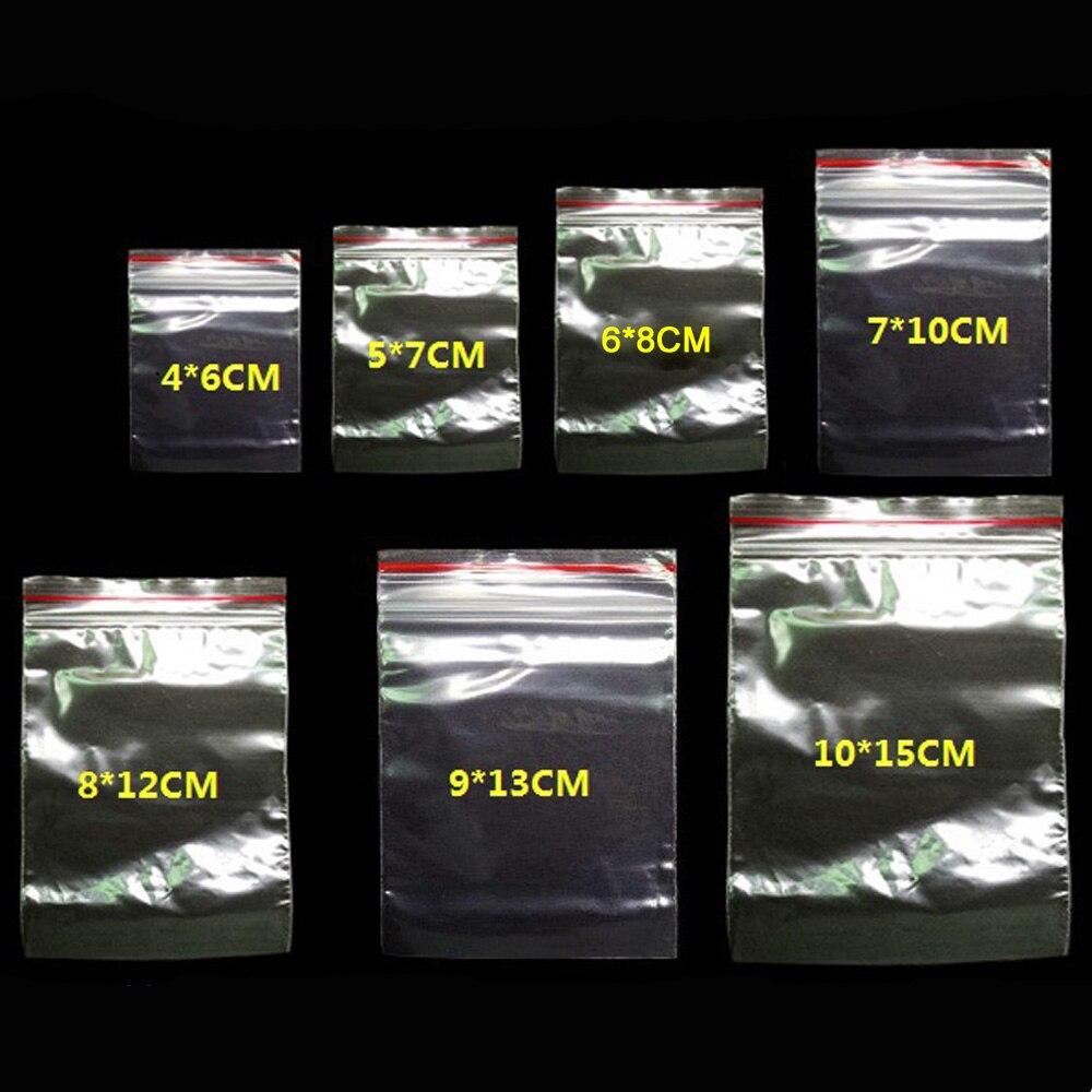 Шт./упак. 100 ювелирные изделия Ziplock Zip молнии замок закрывающиеся пластик поли ясно сумки толщина 0,05 мм