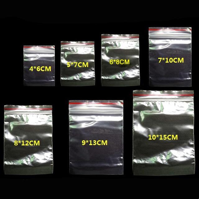 100 adet/paket Takı Kilitli Zip Sıkıştırılmış Kilit Yeniden Kapatılabilir Plastik Poly Temizle Çanta Kalınlığı 0.05mm