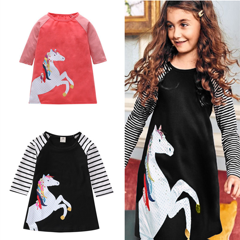 Kids Girl Dress 2018 Children Baby Dresses Clothes Autumn Long Sleeve Striped Dress Clothing Toddler Girls Casual Princess Dress girl dress children clothing princess dress nova kids clothes girls dress spring autumn long sleeve cotton dress for girls h5803