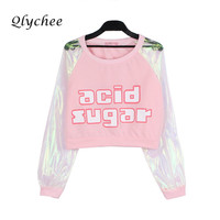 Qlychee Laser Transparent Harajuku Crop Top Patchwork Long Sleeve T Shirt Women Long Sleeve Clothing Letter