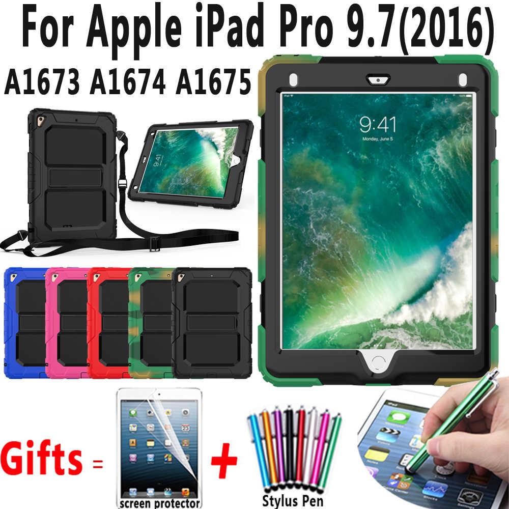 درع طفل آمن اللوحي حالة تغطية لتفاح باد برو 9.7 A1673 A1674 A1675 كوكه كابا فوندا + حزام الكتف + الشاشة حامي
