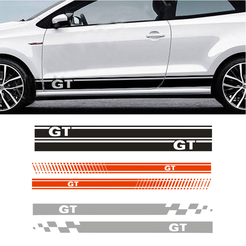 YONGXUN FOR VW POLO GT SIDE RACING STRIPES GRAPHIC DECAL  Car Stickers da-82 2pcs yongxun stickers decal for alfa romeo 147 156 159 166 giulietta stripe body kit door handle guard sill da 432