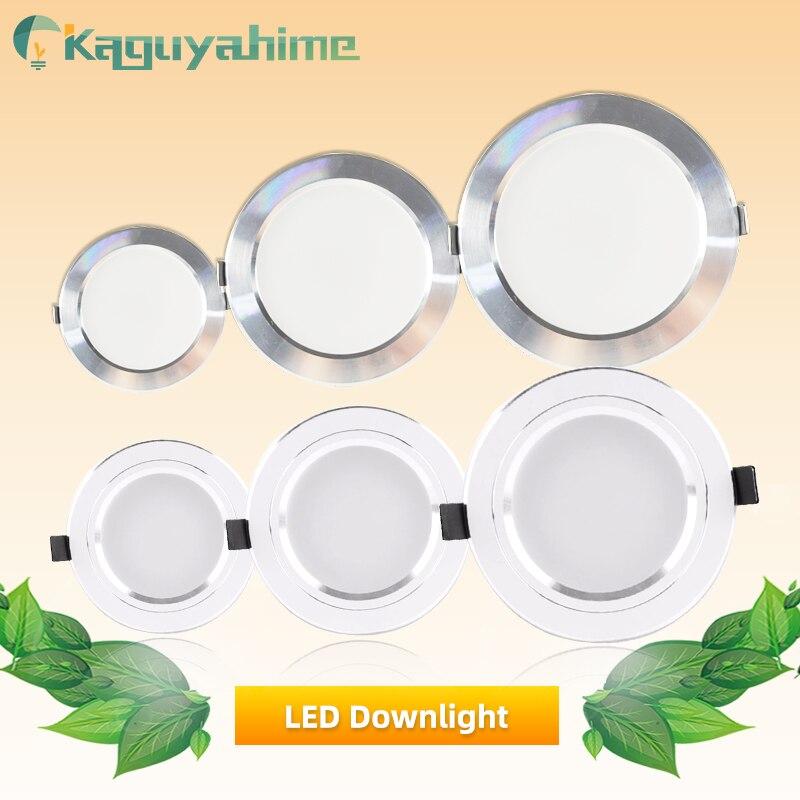 Kaguyahime foco LED 220 V 110 V de aluminio Downlight 18 W 15 W 9 W 5 W 3 W Ultra luz LED delgada redonda empotrada para sala de estar