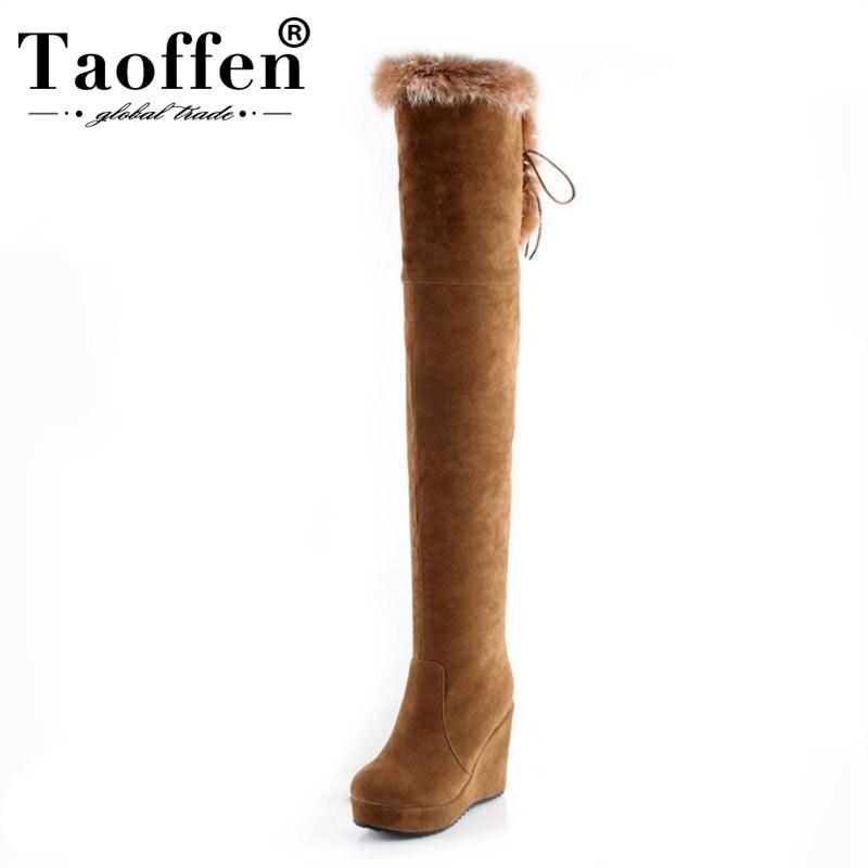 TAOFFEN/Женские Сапоги выше колена, сапоги на высокой танкетке, сапоги на платформе с молнией, зимняя обувь, теплые высокие сапоги, Botas, женская о...