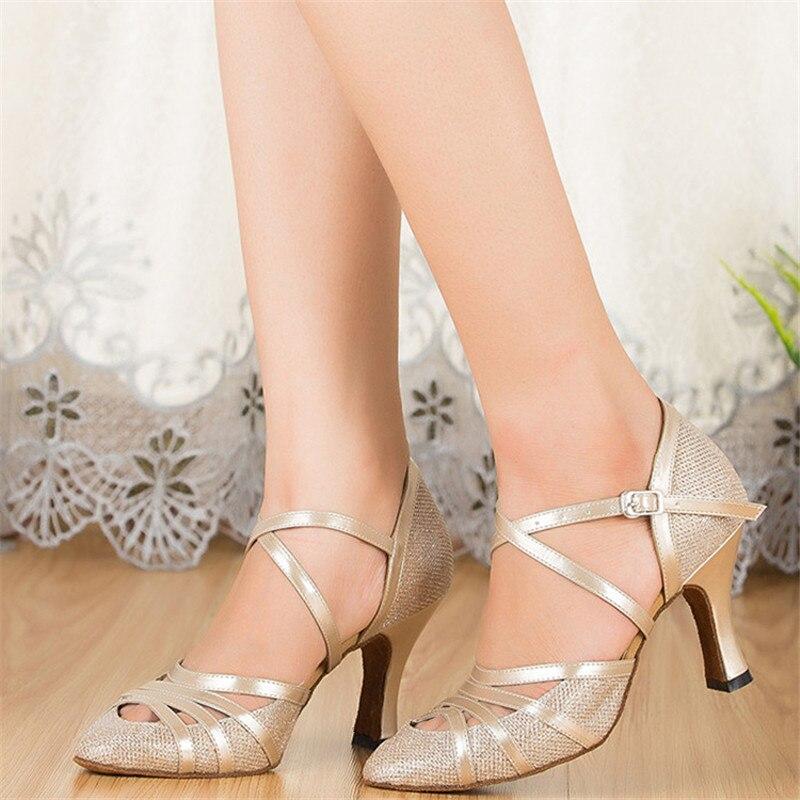 Femmes salon Latin danse chaussures talon haut danse sandales 5 cm 6 cm 8 cm Chalcamba danse Tango Salsa chaussures fille argent Champagne