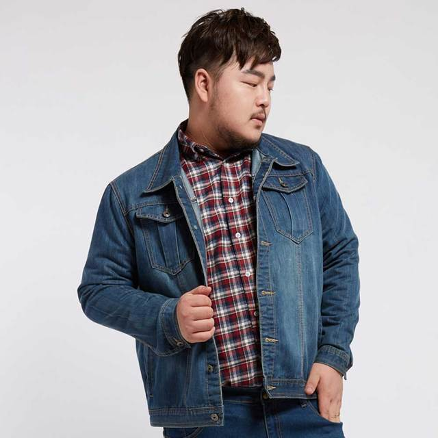 ca1495ea730 Plus Size Mens Denim Jacket Autumn Winter Outerwear Trucker Dark Blue Male  Jeans Jacket BIG AND TALL Mens Clothing