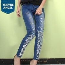 1c748ef574a Бриллиант ручной работы джинсы со стразами женские брюки-клеш с вышивкой  обтягивающие эластичные джинсовые узкие брюки 2019 модн.