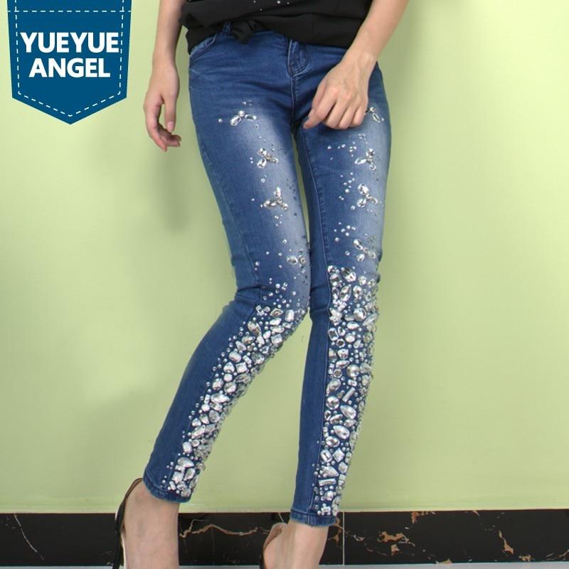 Fashion Women Rose Print Leggings Pants High Waist Rhinestone Jeans Slim Trouser