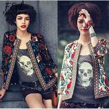 2016 NEW Women Jackets Vintage Flower Print Three Quarter Casual Short  Jackets Slim Coat O-neck Plus Size S-XL