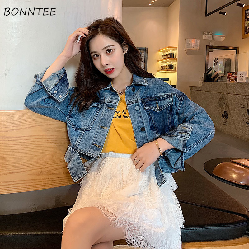 Jackets   Women Elegant Slim Leisure Denim Pockets Short Style Ladies   Basic     Jacket   Single Breasted Korean Style All-match Trendy