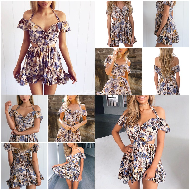 Hollow Out Halter Off Shoulder Floral Print High Waist Beach Dress