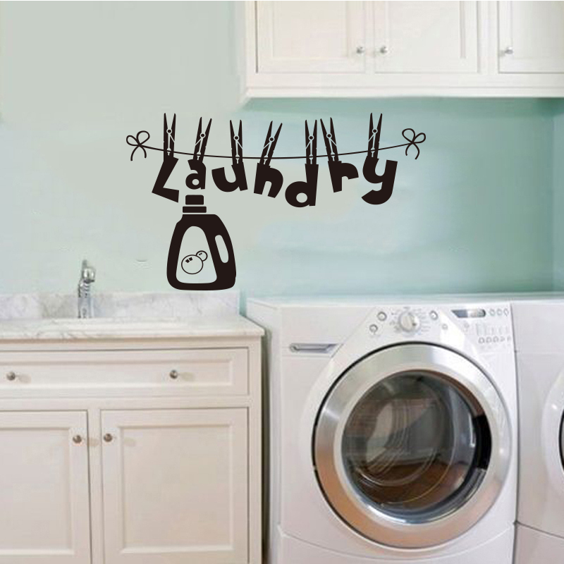 french creative vinyl wall stickers for laundry room removable wall