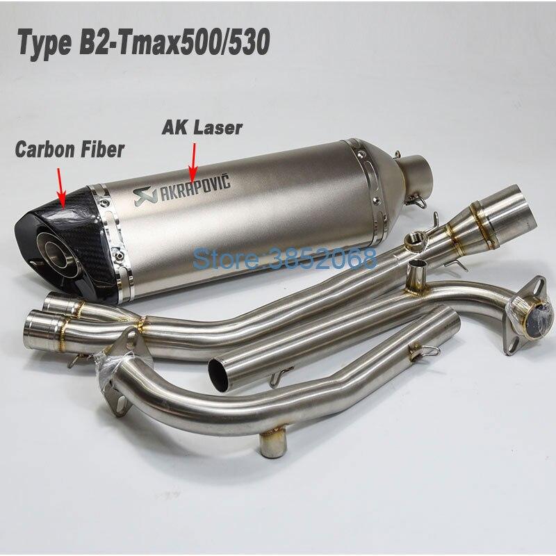 Sans lacet Pour TMAX 500 Tmax530 Moto Silencieux D'échappement Connecteur Central Avant Tube ForT-MAX500 TMAX-530 TMAX500 TMAX530